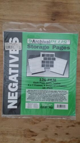 Clear File Archival Plus 120 film Storage Pages 10 Pack 6x7 Frames Negatives
