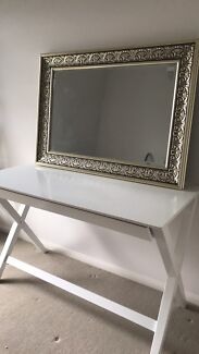 Gold mirror and white Desk