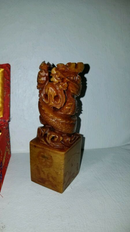 """Old Chinese Soapstone Hardstone Carved Double Dragon Stamp Seal w/ Box  """" PAM """""""