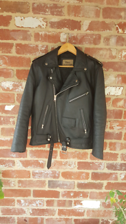 Full Black Leather Jacket -Brando Perfecto Biker- Slim Fit L