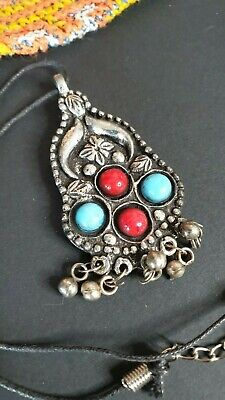 Old Tibetan Costume Tribal Pendant with Local silver & Stones …beautiful accent