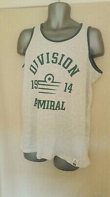 original Admiral DIVISION 1914 Large White Green Trim Sleeveless Vest