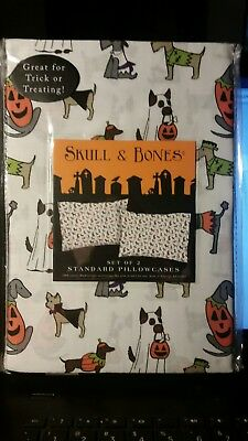 Skull & Bones White Dogs in Costumes Pillowcases Set of Two NIP