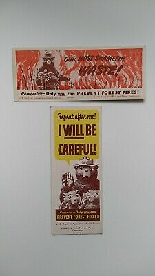 2 Vtg Advertising Ink Blotters Smokey The Bear, Only You Can Prevent Forest..+