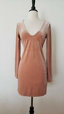 Anthropologie Dress New Size Small Peach Neutral Soft Velvet V Neck Bodycon