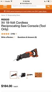 ISO Ridgid Cordless Reciprocating saw