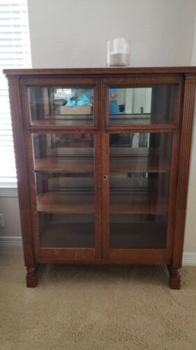 Antique Solid Oak China Cabinet