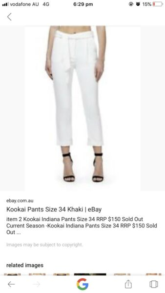 Kookai Indiana pants size 36 in both black and white  394613e84