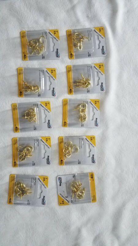 "10 pks National Hardware N119-685 Solid Brass Cup Hooks 1"" 4 Pcs. V2021 NIB"