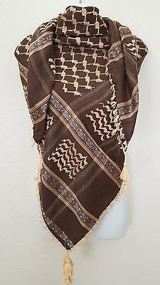 SL Brown Tan Unisex Shemagh Head Scarf Neck Wrap Cottton Yellow Cover BRT