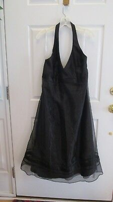 - David's Bridal Plus Black Bridesmaid Plunge Halter A-Line Cocktail Dress