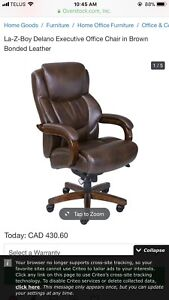 La-Z-Boy Executive Office Chair - brown bonded leather