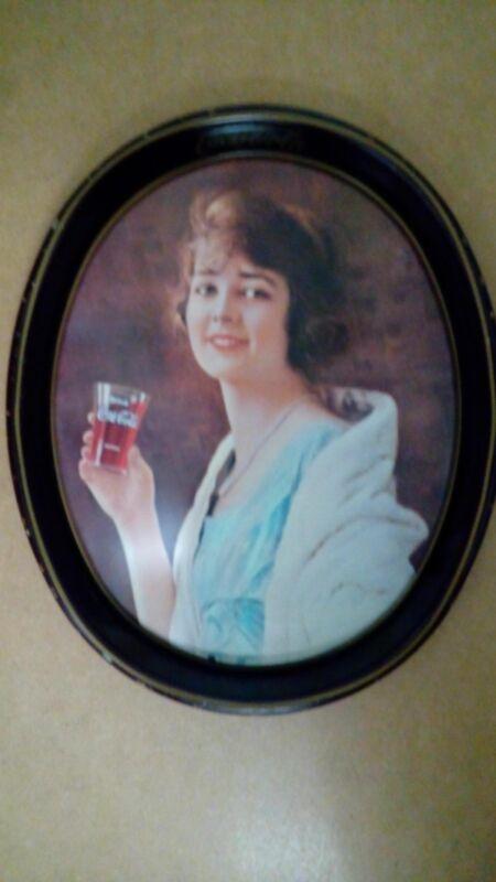 Vintage Antic Coca-Cola Serving Tray Metallic Plate Woman drinking Coke
