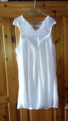 Kleid aus chiffon mit Häkel Spitze strand Sommer hochzeit cocktail Weiß 52 54