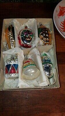 WOW🎄 6 West Germany Vintage Christmas Ornaments Blown Glass shoe corn drum ()