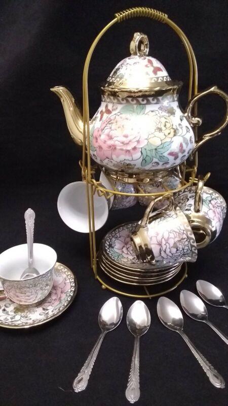 Juego de te cafe 20 piezas cafetera 6 tazas 6 platos 6 cucharas taza de3 onzas