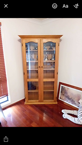 Wood and glass cabinet Campbelltown Campbelltown Area Preview