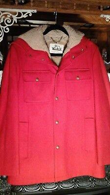e6376cd50c6ac VINTAGE 60's WOOLRICH RED HEAVY WOOL HUNTING COAT JACKET SHEEPSKIN LINING 38