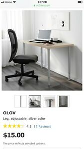 IKEA Desk - Linnmon Table Top with 4 OLOV Adjustable legs