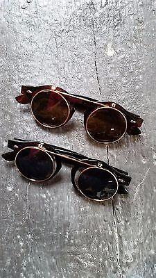 Sonnenbrille zum Hochklappen Steampunk viktorianisch Kostüm Schwarz gold retro