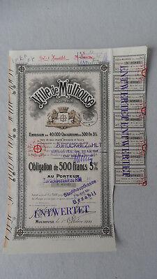 Ville de Mulhouse Haut Rhin-Obligation de 500 Francs 5% v.1919-zurückbezahlt