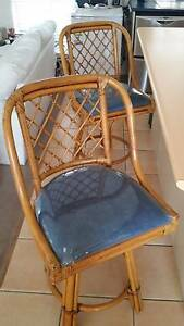 2 X swivel  cane and bamboo  high kitchen stools Sippy Downs Maroochydore Area Preview