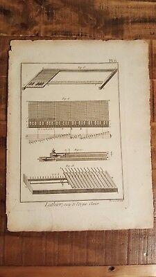 1 Engraving, Titled - LUTHIER, SUITE DE L'ORGUE, CLAVIER - Circa Mid 1700's
