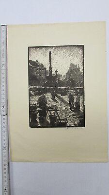 Lithographie Sachsen Marktplatz Menschen Meißen (?)  um 1920 Original signiert
