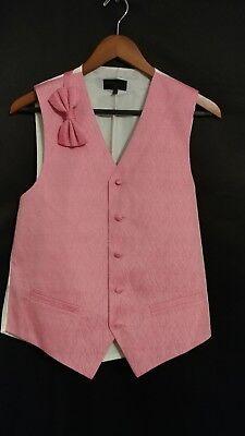 Bubblegum Pink New Cheap Closeout Tuxedo Tux Suit Adjustable Prom Vest Bow tie (Cheap Pink)