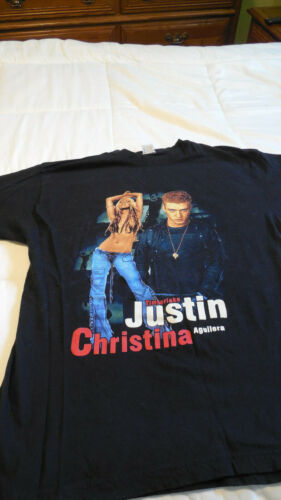 JUSTIN TIMBERLAKE / CHRISTINA AGUILERA T-Shirt - STRIPPED TOUR - RARE