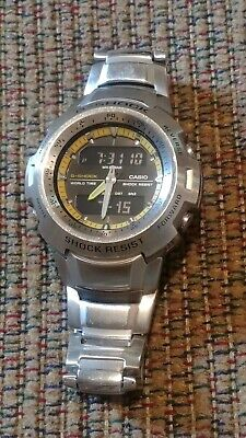 RARE Casio G-Shock Cockpit Series G-741-D-1A9JF Stainless Black/Yellow Works!