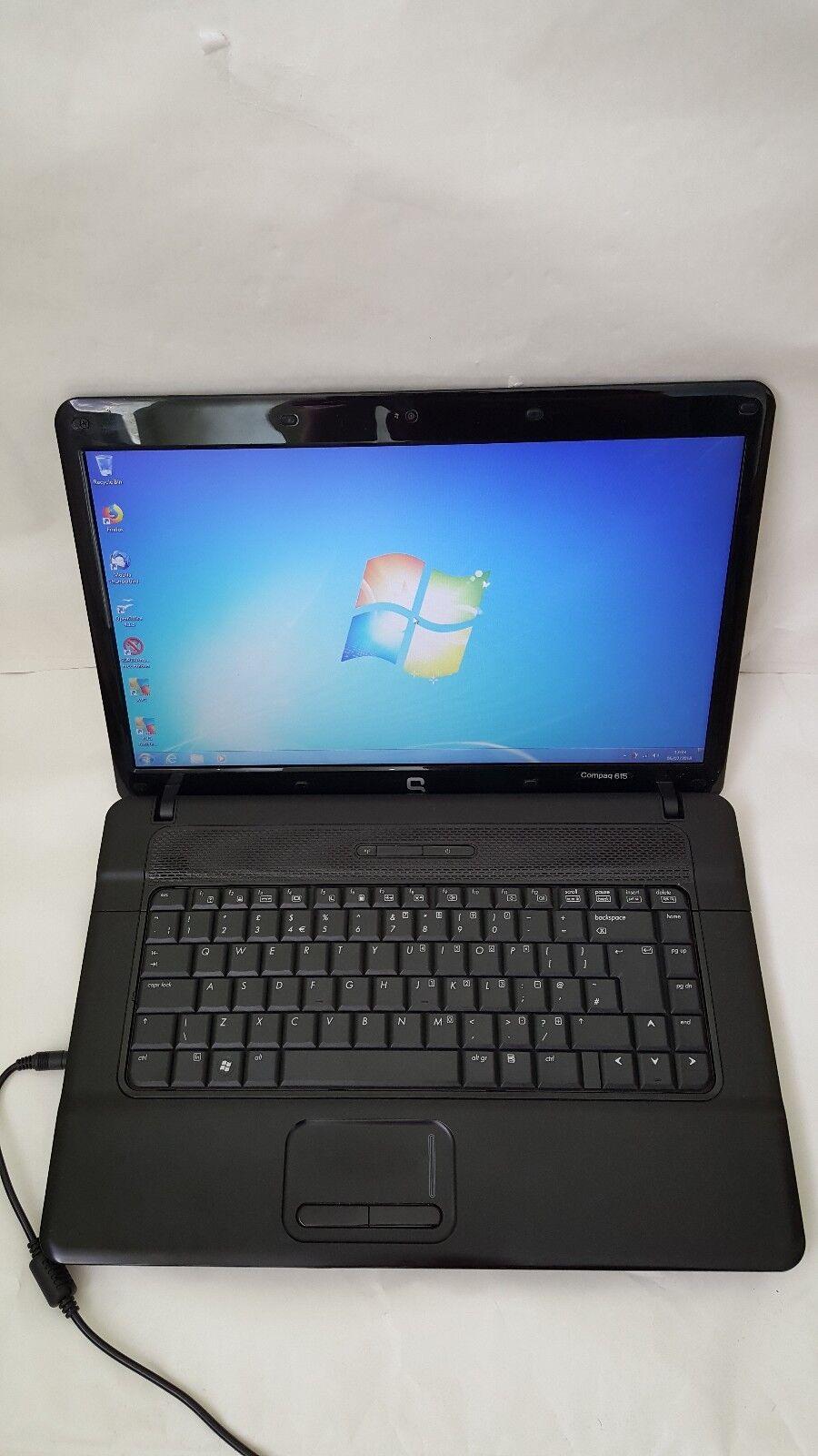 "Compaq 615 Notebook Laptop 15.6"" 1GB 320GB Webcam Windows 7 Open Office ATI HD"