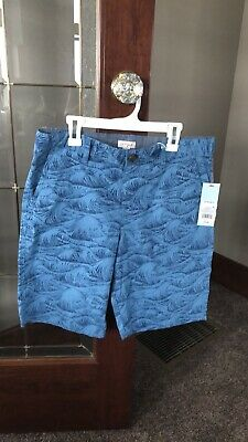 Boys Flat Front Chino Shorts Cat & Jack Blue Wave Summer Clothes Husky NWT ()