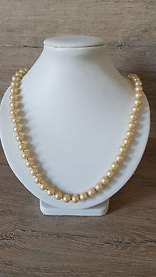 Halskette Perlenkette goldfarben wunderschön Verschluss 835 Silber 44, 37g CP2131