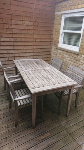 Garden Furniture - Wooden garden furniture,  expanding table & 4 extra large chairs, Used Condition