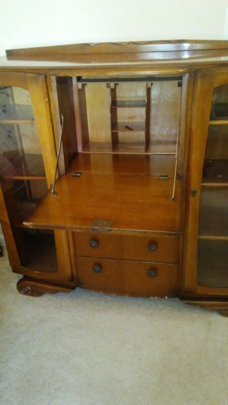Antique secretary with flip down writing desk, 4 drawers, 4 shelves on each side
