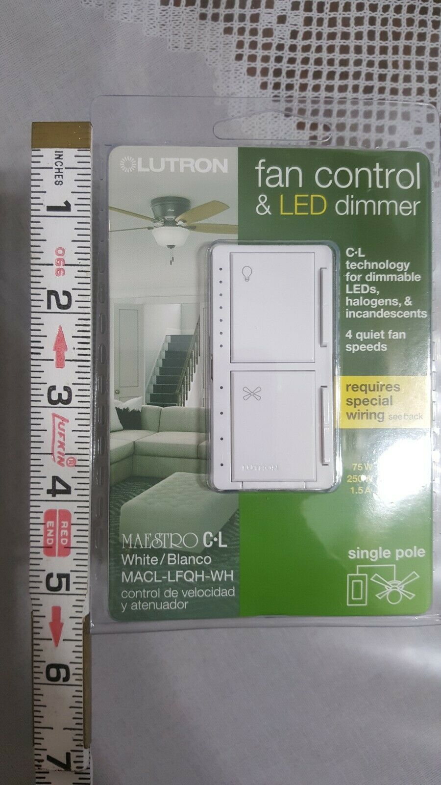 LUTRON// FAN CONTROL AND LED DIMMER(WHITE) SINGLE POLE // NEW