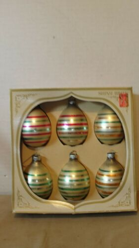 (6) SHINY BRITE STRIPED CHRISTMAS ORNAMENTS