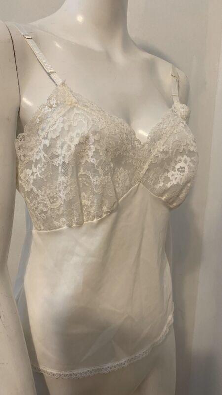 Vintage White Lace Nylon Camisol Cami 70's Sz 34
