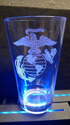 Laser Engraved Beer - Pint beer glass (16oz mixer) with laser engraved Military Emblem