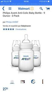 3 BIBERONS LARGE GOULOT PHILIPS AVENT 1M+ 260ml/9oz