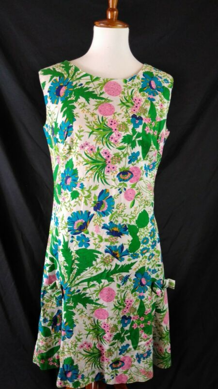 1960s Vtg Alice Polynesian Fashions Floral Shift Dress Sz S/M