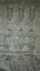 Bohemia 24% Lead Crystal hand cut wine/champagne flutes set of 6 BEAUTIFUL!