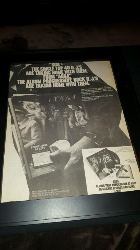 ABBA SOS Rare Original Promo Poster Ad Framed!