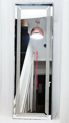 Cristal Diseño Recibidor Plata Discreto Sparkle Larga Aderezo Espejo de Pared