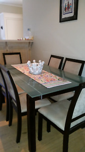 Glass dining table & 6 chairs - Pickup Myrtle Bank SA