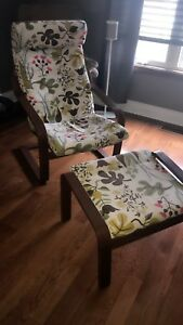 IKEA poang chair and stool