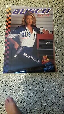 VINTAGE 1996 BUSCH GIRL HOT SPORT COOL BEERS LAMINATED POSTER NEW 20 X 28 INCHES