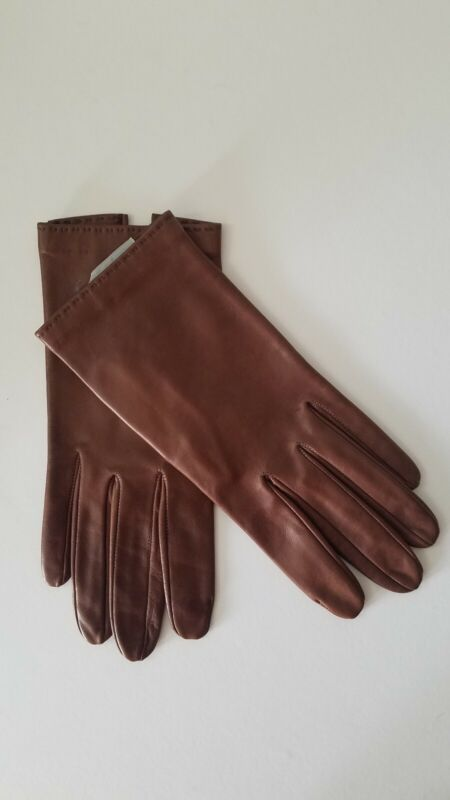AUTHENTIC CHRISTIAN DIOR VINTAGE BROWN LEATHER WRIST LENGTH KID GLOVES SIZE 7
