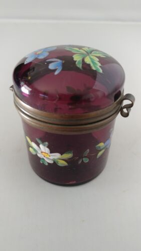 Antique Amethyst Purple Small Glass Moser Czech Pill Patch Trinket Box LOVELY!
